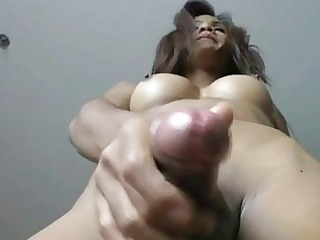 slender shemale rin jerks off and fires cum